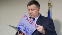 Ukraine's Interior Minister Arsen Avakov is seen as he makes comments for Reuters about the decision made by Interpol to put ousted president Viktor Yanukovich on the international wanted list, in Kiev